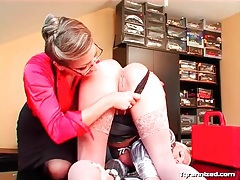 Office sub girl tied up and toy fucked tubes