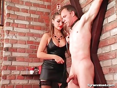 Chick drips hot wax down his chest tubes