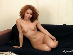 Flexible cutie with curly red hair solo tubes