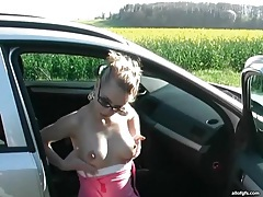 Pov sex with a hot blonde in the car tubes