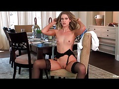 Hot chick solo in stockings and garter belt tubes