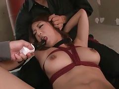 Bound japanese girl toyed on her hairy pussy tubes