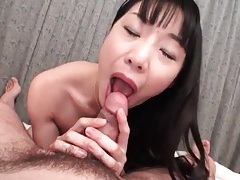 She strips off satin blouse and sucks his cock tubes