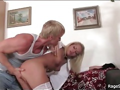 Angry man strips blonde slut and fingers her tubes