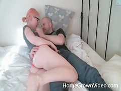 Pink haired girl sucks his cock and he cums tubes