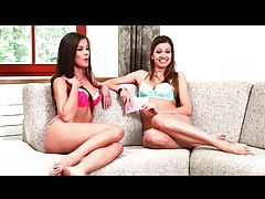 Cute brunette talk and show their small tits tubes