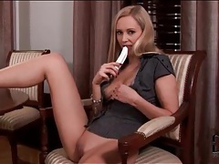 Blonde sucks her dildo and rubs it on her pussy tubes