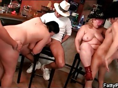 Two plumpers fucked lustily in group sex video tubes