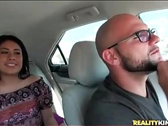 Latin girl flashes tits and pussy in the car tubes