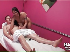 Oiled up handjob from sexy asian masseuse tubes