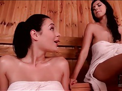 Sweaty sluts in the sauna fool around tubes