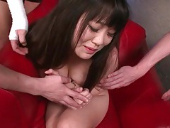 Double toy fucks her pussy and asshole tubes
