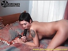 Young roksana sits pussy on big black dildo tubes