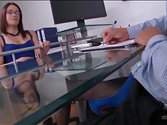 Boss in beautiful blue dress gives footjob tubes