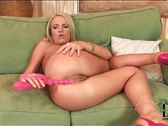 Pink toy slides into asshole of brittney tubes