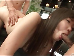 Spit roasted japanese girl takes cock slowly tubes