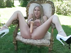 Sky high heels on hot blonde fucking pussy with toy tubes