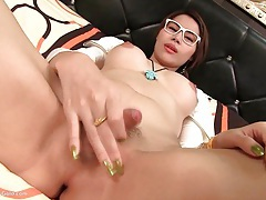 Ladyboy grace coed cutie blowing tubes