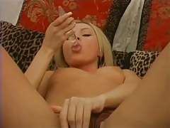 Chick with long fingernails masturbates tubes