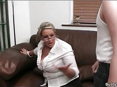 Secretarial girl sucks cock in her glasses tubes