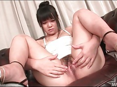 Big white dildo slides into wet japanese pussy tubes