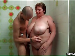 Fat girl fondled in the shower by her man tubes