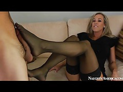 Classy mom brandi love blows him and strips tubes
