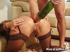 French wife anal fisting and bottle fuck tubes