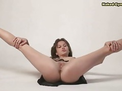 Shaved pussy and sheer skirt on hot brunette tubes