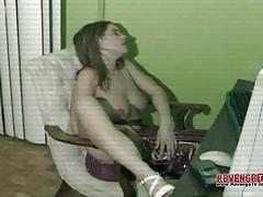 Big tits solo girl masturbates pussy at desk tubes