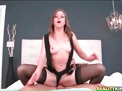 Shaved pussy of katlyn snow sits on dick tubes