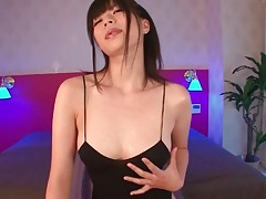 Slinky black lingerie on slender japanese body tubes