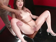 Girl opens her legs and her pussy squirts tubes