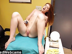 Webcam show with incredible young redhead tubes