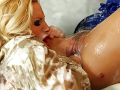 Pornstar babes use toy at gloryhole tubes