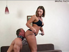 Man on a leash eats asshole of hottie tubes
