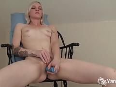 Tattooed blonde ari fucks a blue dildo tubes