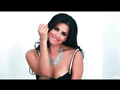 Sunny leone is stunning stripping from black lingerie tubes