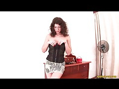 Teen in corset top and skirt looks slutty tubes