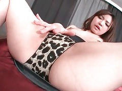 Flicking clit of cutie in leopard print panties tubes