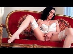 Beauty in delicate white lingerie masturbates tubes