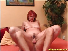 Sultry mature perches her pussy on his cock tubes