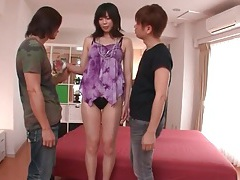Guys suck tits of japanese girl and kiss her tubes