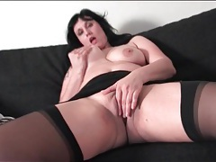 Fat mature walks down the stairs and rubs pussy tubes