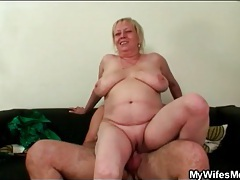 Mother in law rides him with her shaved pussy tubes