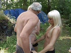 Old woodcutter fucks 2 horny blondes tubes