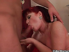 Red hot granny with small tits rides cock tubes