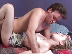 Skinny blonde on her back to take hard dick tubes