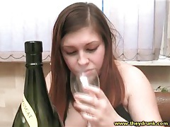 Drunk chick with curves shows her big ass tubes