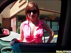 Topless sasha casey sucks cock in car tubes